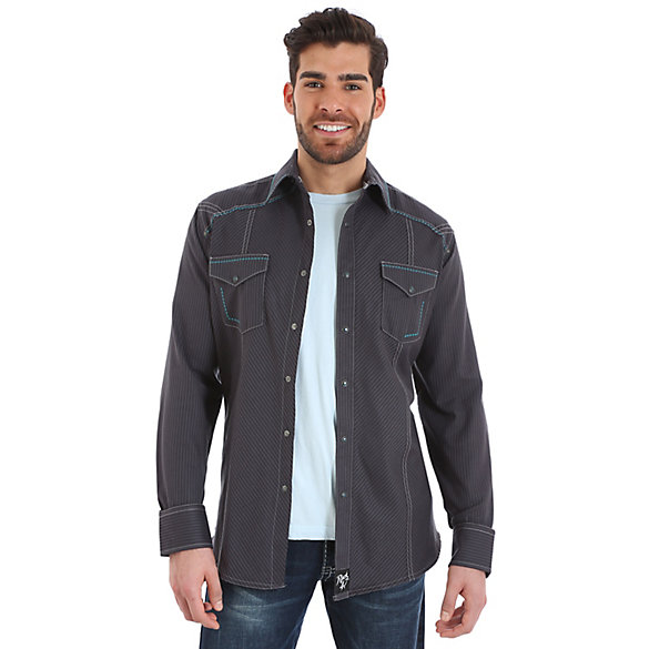 Rock 47® By Wrangler® Long Sleeve Western Snap Western Yoke Stripe Shirt (Tall Sizes)