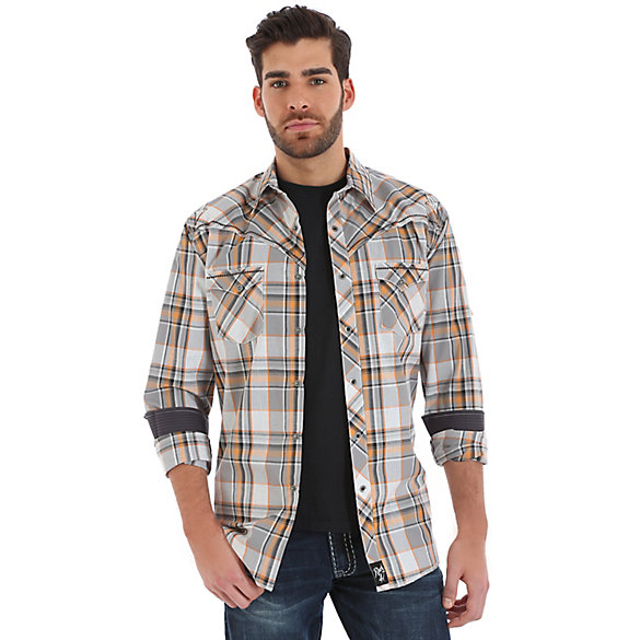 Rock 47® By Wrangler® Long Sleeve Western Snap Exaggerated Front Yoke Plaid Shirt