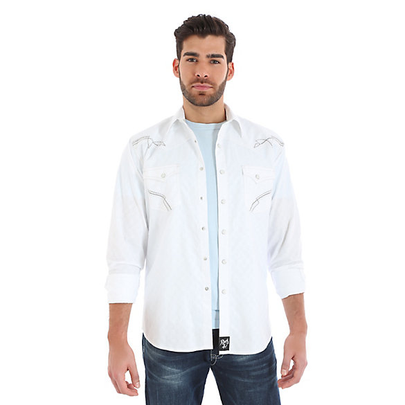 Rock 47® By Wrangler® Long Sleeve Western Snap Solid Tonal Shirt