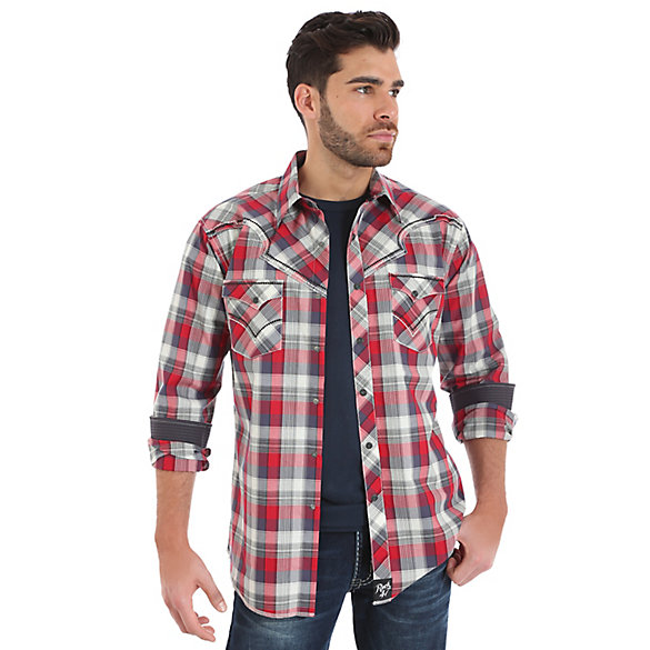 Rock 47® By Wrangler® Long Sleeve Western Snap Vintage Yokes Plaid Shirt (Tall Sizes)