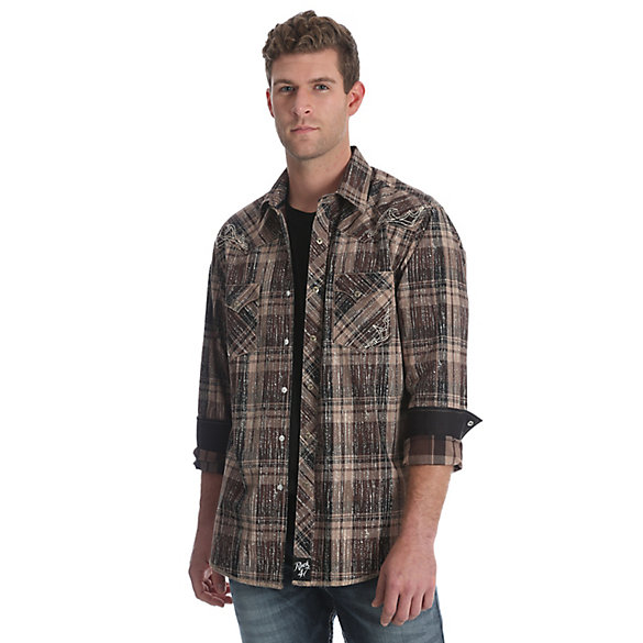 Men's Rock 47® by Wrangler® Long Sleeve Western Snaps Overprint Shirt