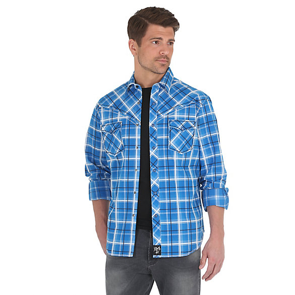Men's Rock 47® by Wrangler® Long Sleeve Western Snaps Stitching on Yokes Plaid Shirt