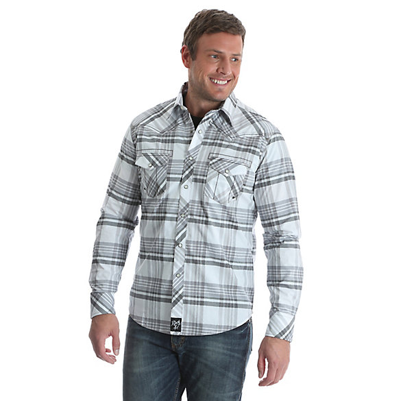 Men's Rock 47® by Wrangler® Long Sleeve Western Snap Decorative Stitching Pockets/Yokes Plaid  Shirt