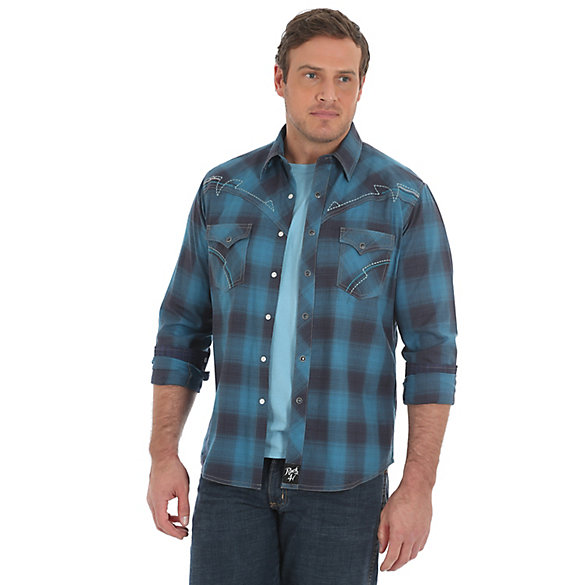 Men's Rock 47® by Wrangler® Embroidered Snap Contrast Trim Plaid Long Sleeve Shirt