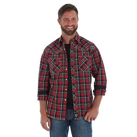 Men's Rock 47® by Wrangler® Long Sleeve Western Snap Decorative Stitching Plaid  Shirt