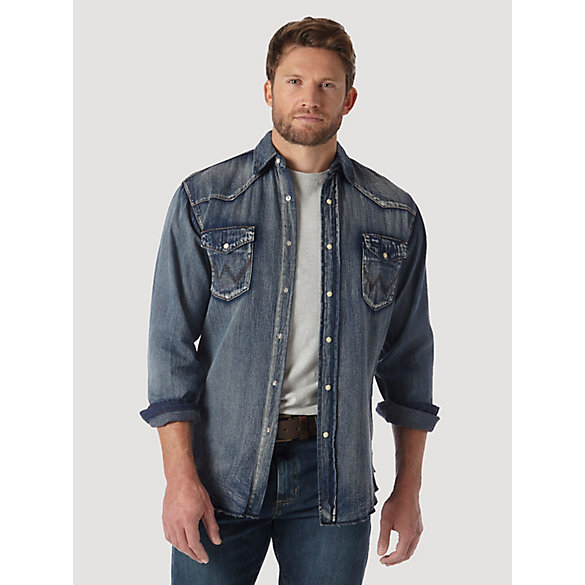 Wrangler® Cowboy Cut® Long Sleeve Western Snap Indigo Slub Denim Shirt - Antique Blue