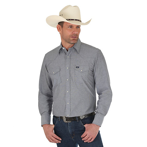 Men's Cowboy Cut Work Western Solid Chambray Shirt