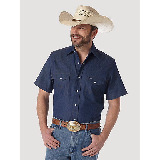 Cowboy Cut® Firm Finish Denim S/S Work Western Shirt (Big & Tall Sizes)