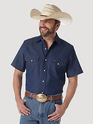 Cowboy Cut® Firm Finish Denim Short Sleeve Work Western Shirt