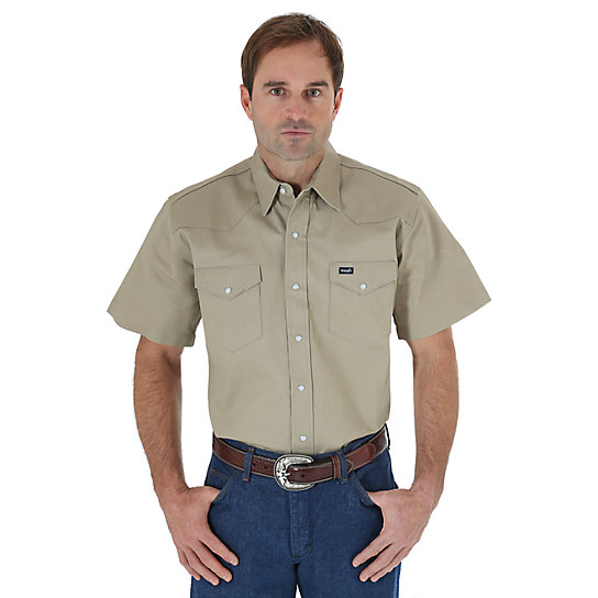 Cowboy Cut® Khaki Twill Short Sleeve Work Western Shirt (Big & Tall Sizes)