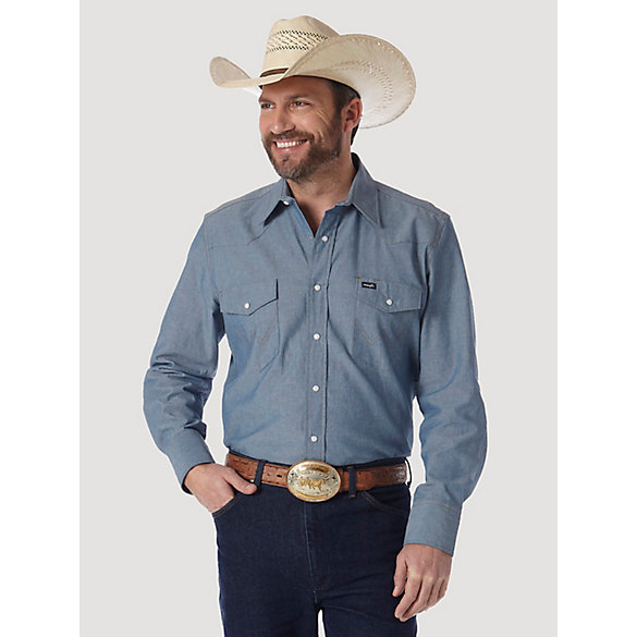 Cowboy Cut® Firm Finish Long Sleeve Western Snap Solid Work Shirt