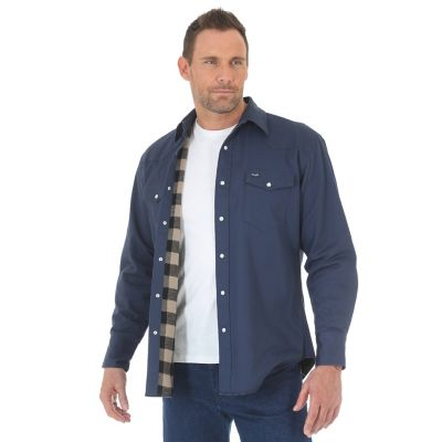 Wrangler cowboy cut western snap flannel lined solid for Big and tall lined flannel shirts