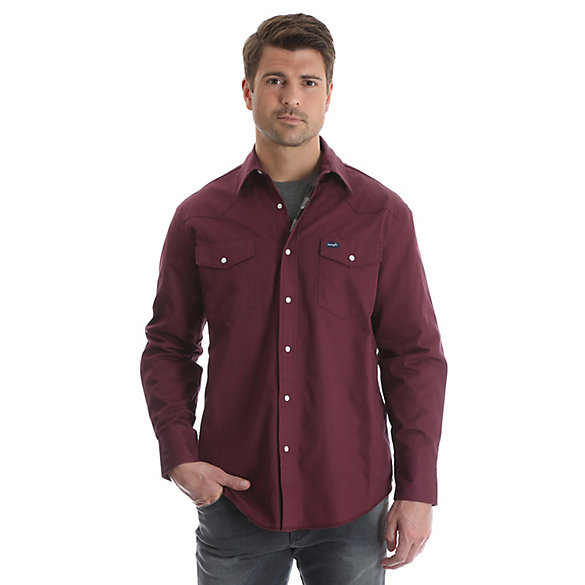 Wrangler® Cowboy Cut® Western Snap Flannel Lined Solid Work Shirt