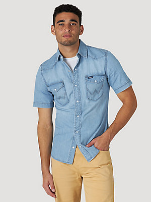 Men's Chambray Short Sleeve Snap Shirt