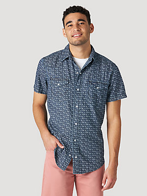 Men's Printed Chambray Short Sleeve Snap Shirt