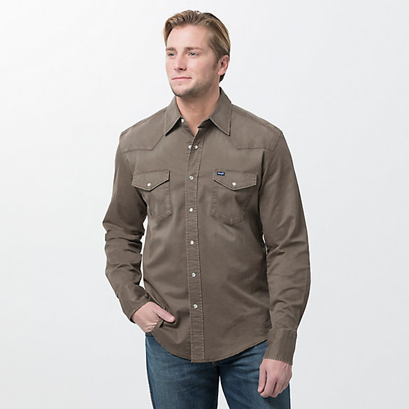 Men's Long Sleeve Western Snap Stretch Twill Solid Shirts