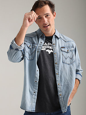 Men's Denim Western Snap Front Shirt