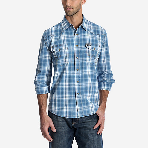 Men's Wrangler® Long Sleeve Western Snap Plaid Shirt