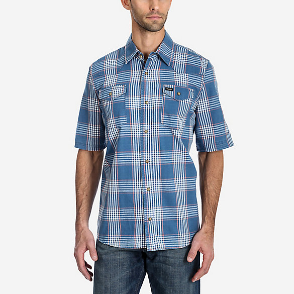 Men's Wrangler® Short Sleeve Western Checkered Plaid Shirt