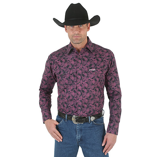 Tough Enough To Wear Pink™ Long Sleeve Western Snap Print Shirt