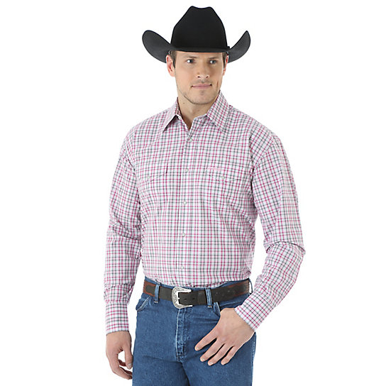 Men's Wrangler® Tough Enough to Wear Pink™ Long Sleeve Western Snaps Plaid Shirt (Big & Tall)