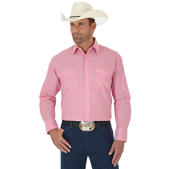 Men's Tough Enough To Wear Pink™  Long Sleeve Western Snap Solid Chambray Shirt