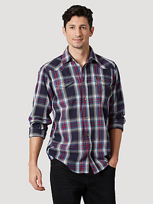 Men's Wrangler® Long Sleeve Multi Color Plaid Shirt