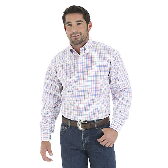 Tough Enough To Wear Pink™ Long Sleeve Poplin Plaid with Satin Shirt (Big & Tall)