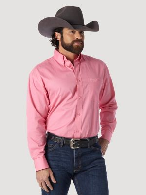 Tough Enough To Wear Pink Long Sleeve Solid Shirt Pink Mens