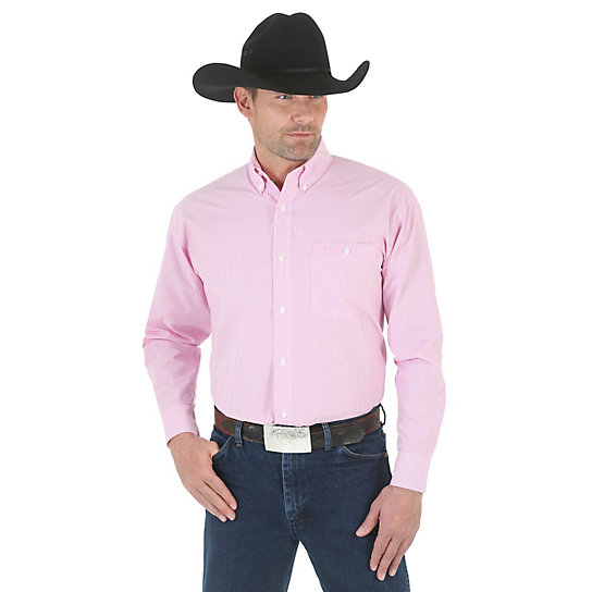 Tough Enough To Wear Pink™ Long Sleeve Button Down Striped Shirt (Tall Sizes)