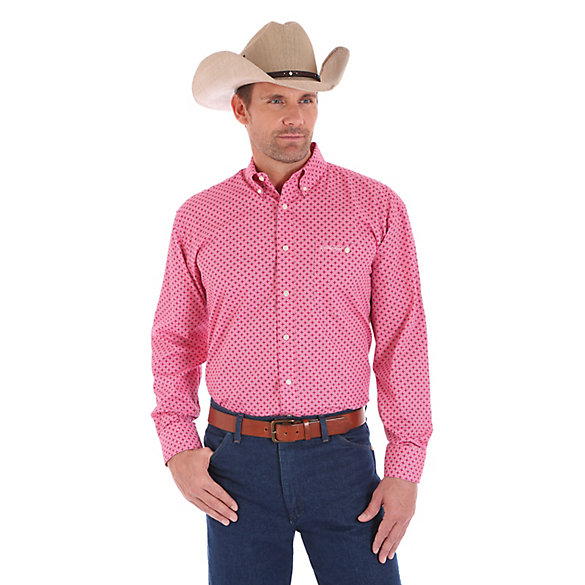 Tough Enough To Wear Pink™ Long Sleeve Button Down Print Shirt