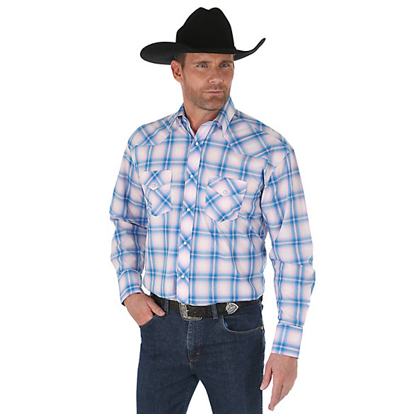 Men's Tough Enough To Wear Pink™ Long Sleeve Western Snap Plaid Shirt