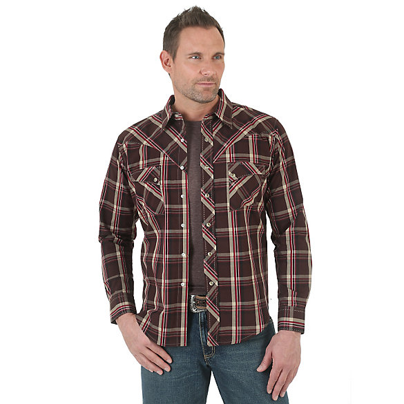 Long Sleeve Western Snap Plaid Shirt (Tall Sizes)