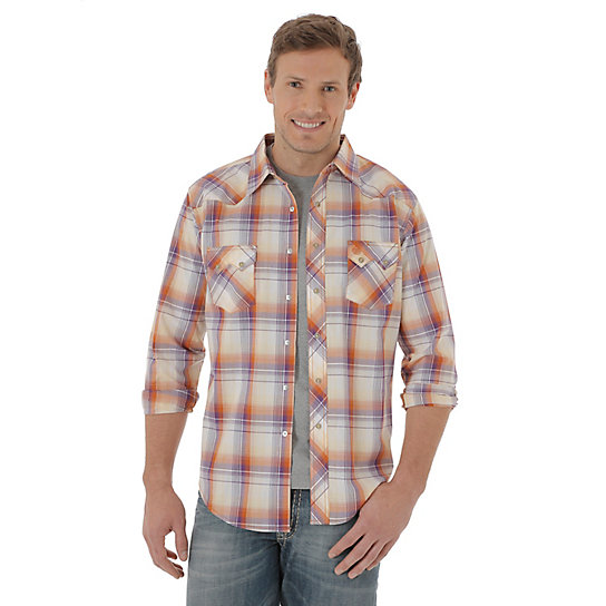 Men's Long Sleeve Western Snap Plaid Sawtooth Shirt