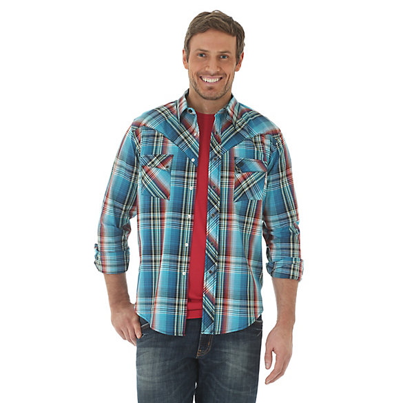 Men's Long Sleeve Western Snap Plaid Shirt