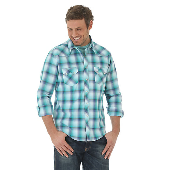 Men's Long Sleeve Western Snap Plaid Sawtooth Shirt (Tall Sizes)