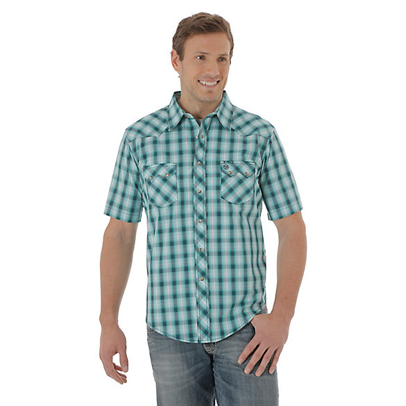 Men's Short Sleeve Western Snap Plaid Sawtooth Shirt