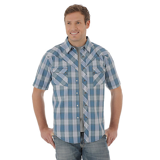 Men's Short Sleeve Western Snap Plaid Shirt (Tall Sizes)