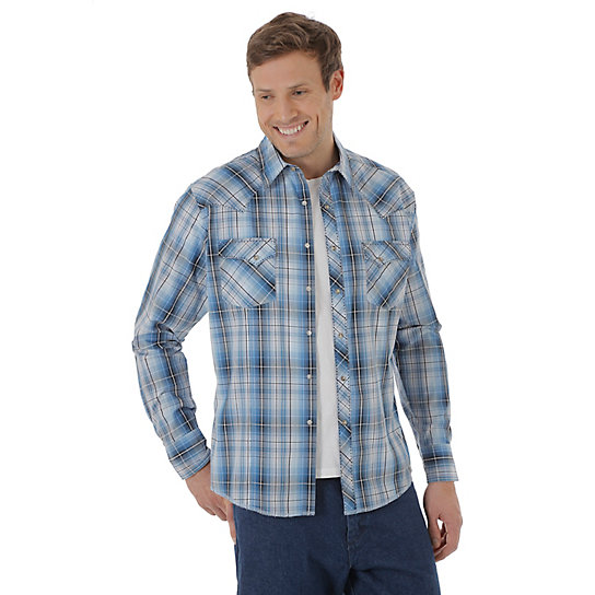 Men 39 s long sleeve fashion western snap plaid shirt mens for Mens plaid shirts long sleeve