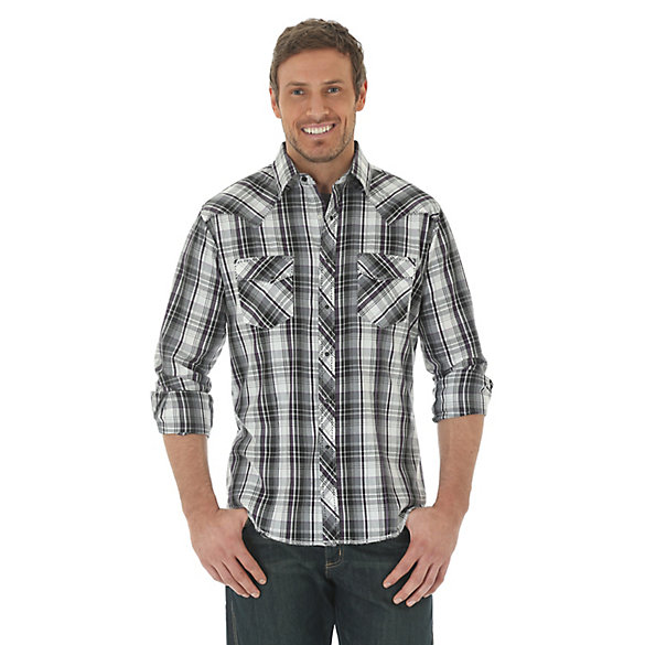 Men's Long Sleeve Fashion Western Snap Plaid Shirt (Big & Tall)