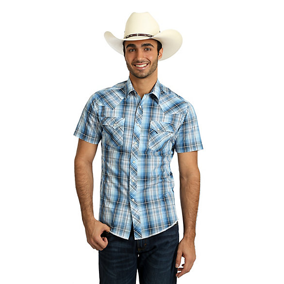3bdaa5e8 Men's Wrangler® Fashion Snap Short Sleeve Western Snap Plaid Shirt ...