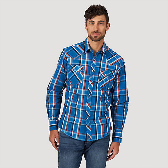 b724f461 Men's Long Sleeve Fashion Western Snap Plaid Shirt | Mens Shirts by ...