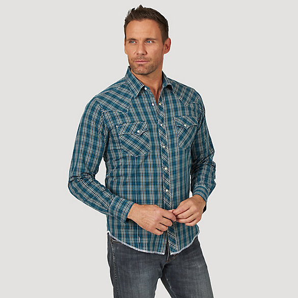 Men's Long Sleeve Fashion Western Snap Plaid Shirt