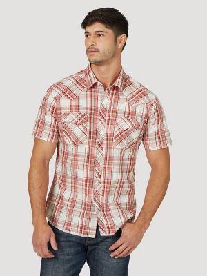 Wrangler MJC206M Wrangler 20X Short Sleeve Men/'s Plaid Western Snap Shirt
