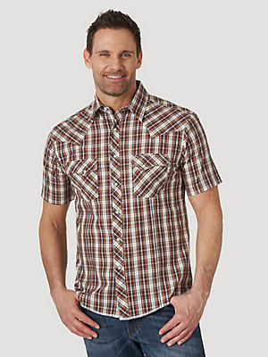 Men's Wrangler® Fashion Snap Short Sleeve Western Snap Plaid Shirt