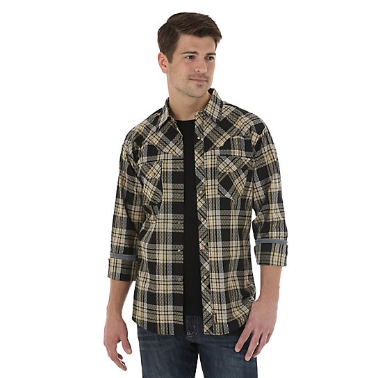 Wrangler® Retro® Long Sleeve Spread Collar Plaid Shirt - Black/Khaki
