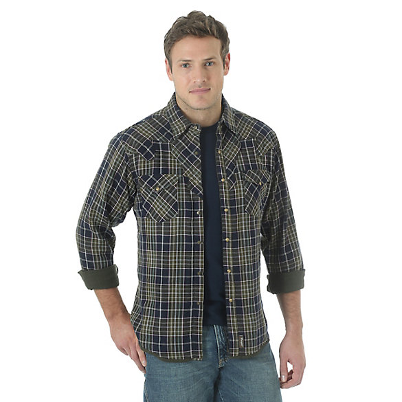 Wrangler® Retro® Long Sleeve Spread Collar Plaid Shirt - Navy/Olive