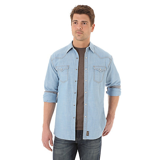 Men's Wrangler® Retro® Long Sleeve Western Snap Solid Shirt