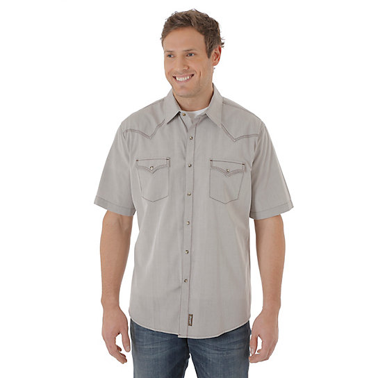 Men's Wrangler® Retro® Short Sleeve Western Snap Solid Shirt (Tall Sizes)