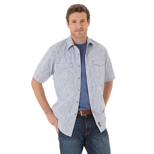 Men's Wrangler® Retro® Short Sleeve Western Snap Plaid Shirt
